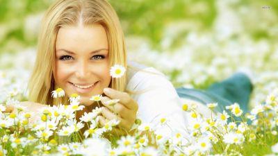 16388 happy girl among daisies 1920x1080 girl wallpaper